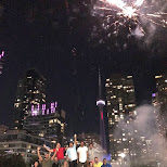 celebrating Canada Day in style with large fireworks in Toronto, Ontario, Canada