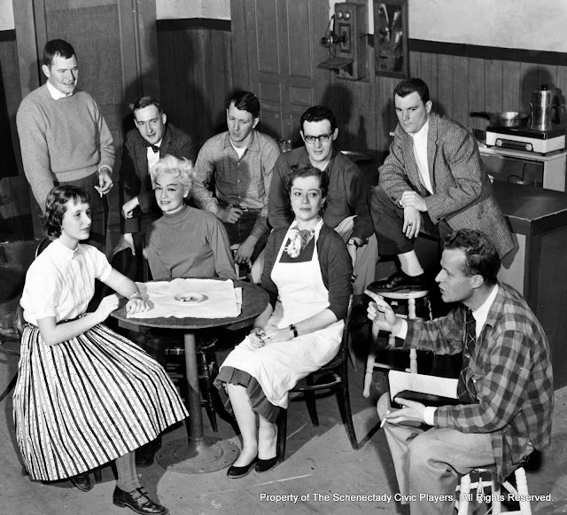 Cindy Brown, Max Hall, Jerry Rice, Helen Rudsill, Warren Stewart, John Varnum, Harriet McMullen, Carleton Hawthorne and Jack Byrne in rehearsal for BUS STOP - Janaury 1958.  Property of The Schenectady Civic Players Theater Archive.