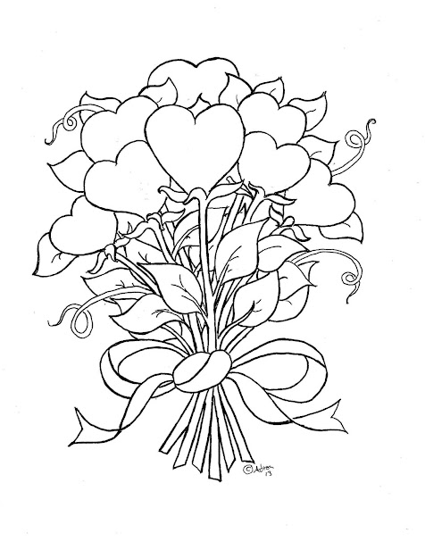 Hearts And Flowers Coloring Pages With  Best Images About Flower On  Pinterest