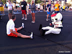 Pre-race stretching with Homer, the Braves' mascot.