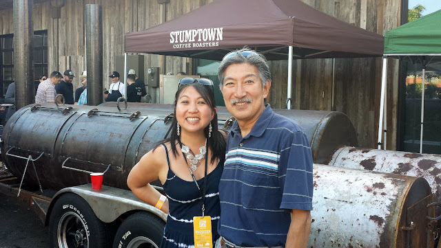 Myself and Gary Fujino (who I know through the Pacific Northwest BBQ Association) posing in front of the smoker Aaron helped build and which was brought up from Austin Texas to Portland