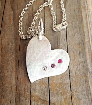 hand crafted silver heart necklace with birthstones