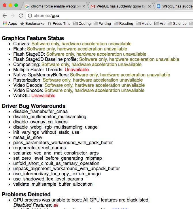 WebGL has suddenly gone broken in Chrome on Mac - Google Chrome Help