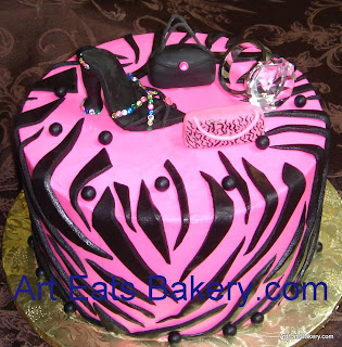 Pink and black custom designed zebra Diva birthday cake with sugar shoe,handbags and faux diamond ring