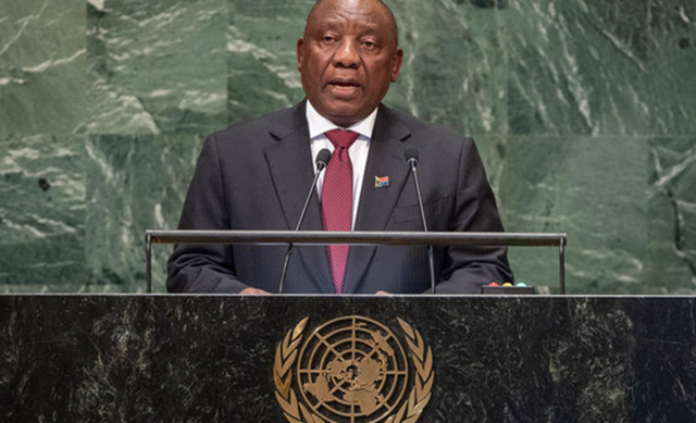President Matamela Cyril Ramaphosa of South Africa addresses the seventy-third session of the United Nations General Assembly, 25 September 2018. Photo: Cia Pak / UN Photo