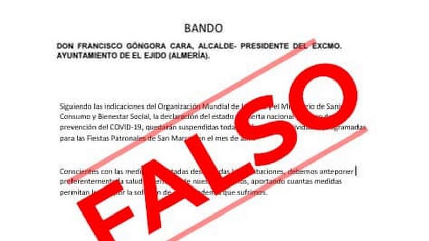 Imagen del Ayuntamiento de El Ejido que desmiente el bulo que ha circulado por las redes sociales.