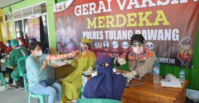 Sambut HUT ke-76 Kemerdekaan RI, Polres Tulang Bawang Buka Gerai Vaksin Merdeka