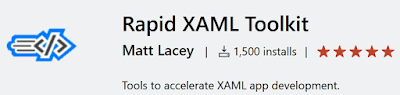 partial screenshot of the VS marketplace showing 1500 user installs for Rapid XAML Toolkit