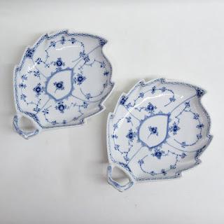 Royal Copenhagen Leaf Dish Pair