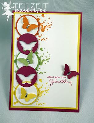 Stampin' Up! - ColorQ Challenge #310, Papillon Potpourri, Perfekte Pärchen, Petit Pairs, Gorgeous Grunge, Circles, Kreise, Birthday, Geburtstag
