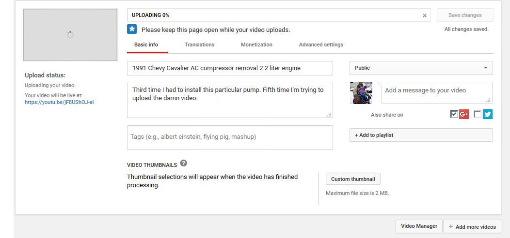 Uploading stuck at %0 - YouTube Help