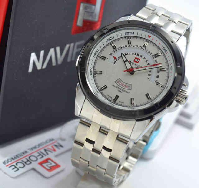 Jual jam Naviforce NF9058 silver white