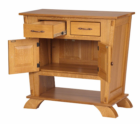 "37"" x 36"" x 19"" Baroque Sideboard Buffet in Quarter Sawn Oak, Honey Finish"