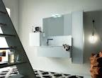 mobile da bagno Linea grigio chiaro composiz con colonna e pensili