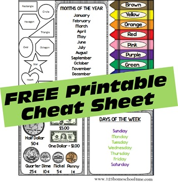 free days of the month sheet and other cheat sheet for kids