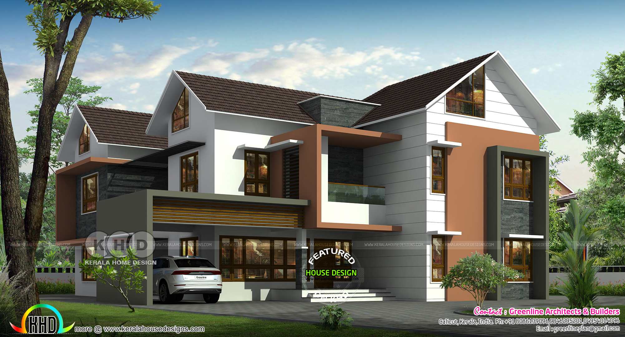 Luxurious 5 Bedroom Mixed Roof House Design Kerala Home Design And Floor Plans 8000 Houses