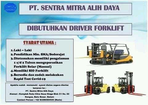 Dibutuhkan Driver Forklift PT Sentra Mitra Alih Daya