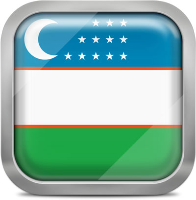 Uzbekistan square flag with metallic frame