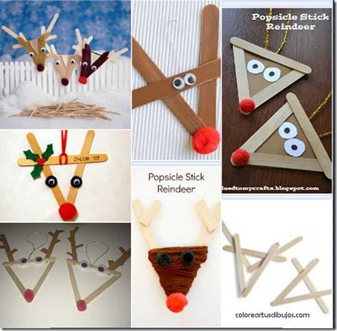 manualidades navidad renos con palo de helado 1