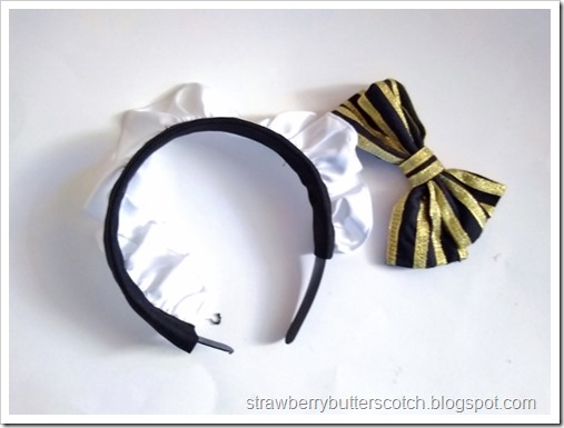 The maid style headband with the old large bow.  The bow was carefully removed with a seam ripper, but it looks too plain without it.