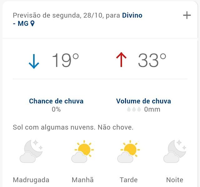 Volta a chover na tarde deste domingo em Divino; Confira a previsão do tempo para o decorrer da semana