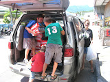 unloading supplies purchased with a special church offering