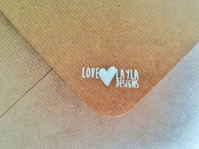 close up of Love Layla Designs brown envelope