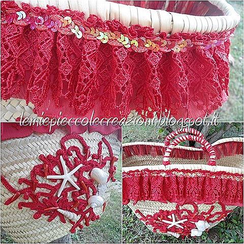borsa di paglia decorata