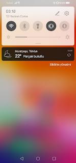 iOS 13 Teması Bildirim Çubuğu