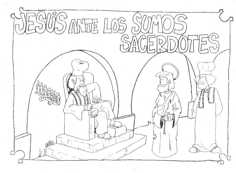 Jesús y los sumos sacerdotes para colorear
