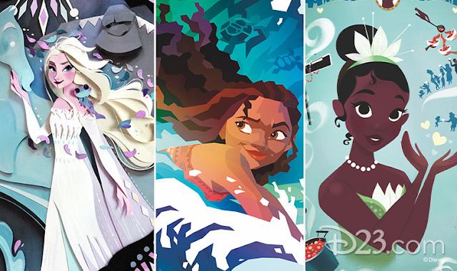 Paper art of Elsa, Moana, and Tiana