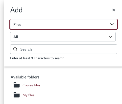 "Course Links ""Add"" menu configured for ""Files"" in Canvas LMS Enhanced RCE"
