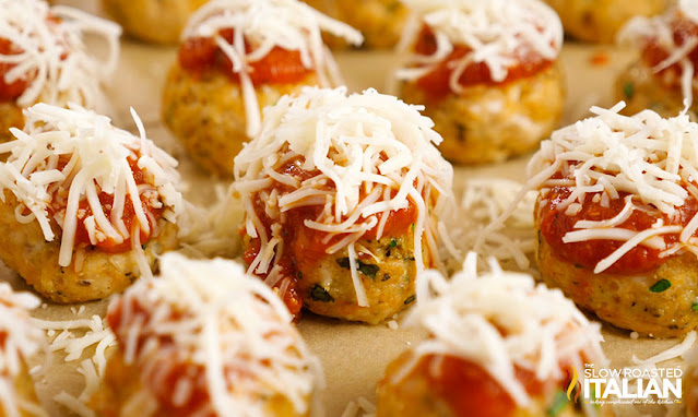 chicken meatballs with sauce and cheese