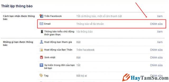 Vào phần chỉnh sửa thiết lập gửi Email thông báo Facebook