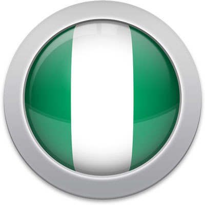 Nigerian flag icon with a silver frame