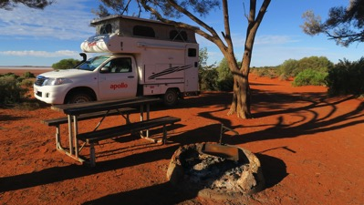 Van parked at Lake Ballard