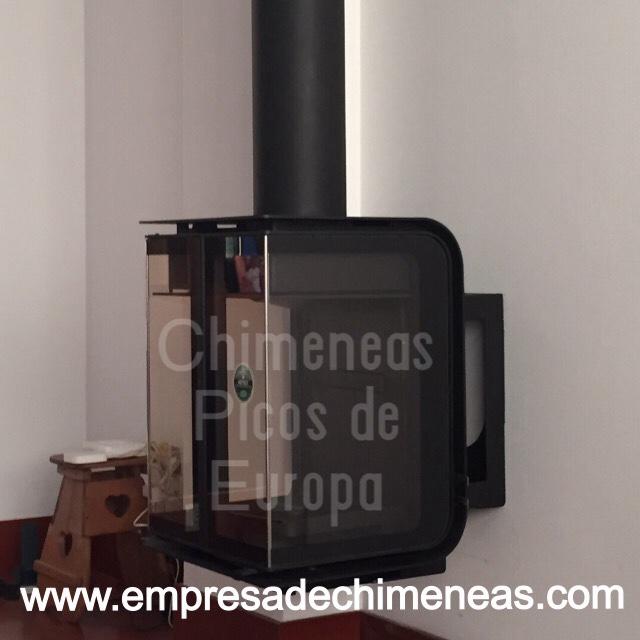 foto chimenea de lea colgante en pared