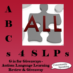 ABCs 4 SLPs: G is for Giveaways - Autism Language Learning Review and Giveaway image