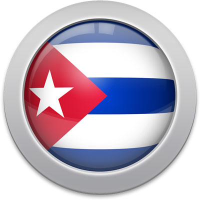 Cuban flag icon with a silver frame