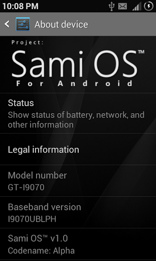 Sami OS 1.0 - About device