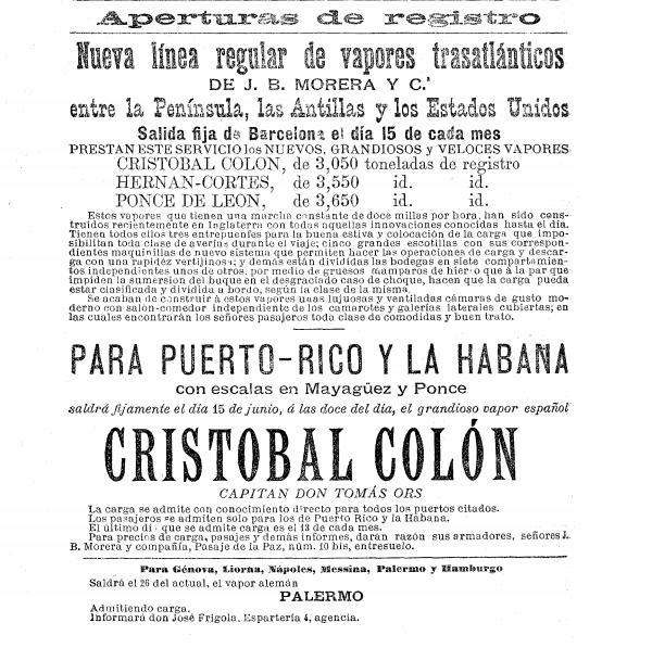 Edición del lunes, 25 de mayo de 1885 del diario La Vanguardia. Anuncio de un viaje del CRISTOBAL COLON (1).png