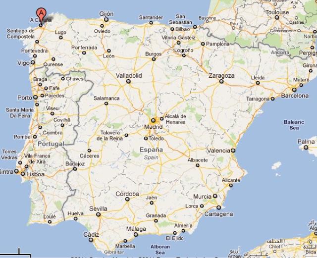 A Coruña Mapa España.M M Smith August 2016 Spain A Coruna