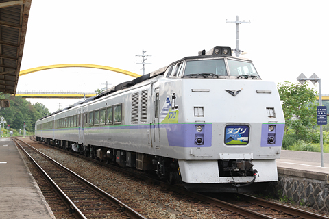 JR北海道 臨時特急「ヌプリ」 札幌行き ニセコ駅にて