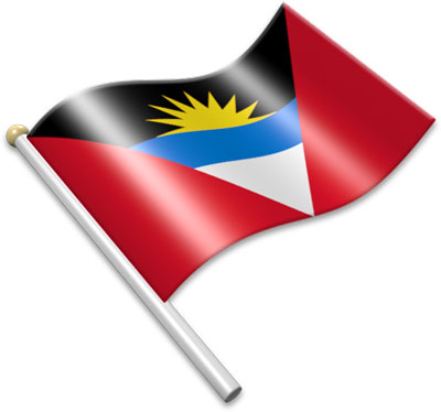 The Antiguan flag on a flagpole clipart image