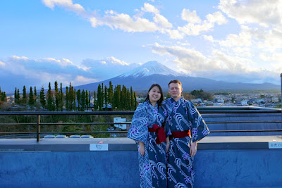 Us in our yukatas on the observation deck of Wakakusa no Yado Maruei - yes the yukatas were provided by the ryokan. I mapped it and from Wakakusa no Yado Maruei, a walk Mount Fuji is only 30 km away from here