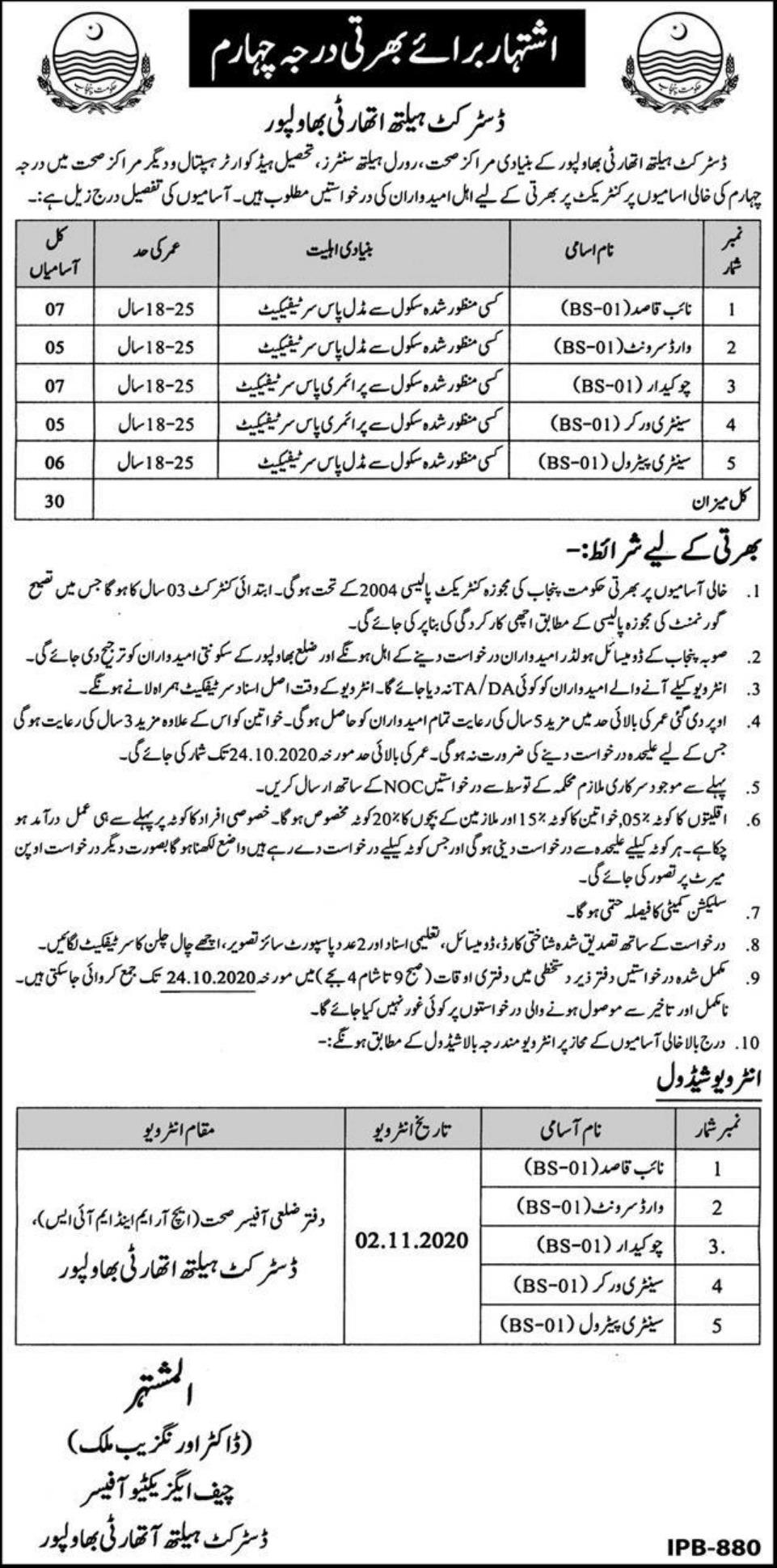 District Health Authority Bahawalpur Jobs October 2020
