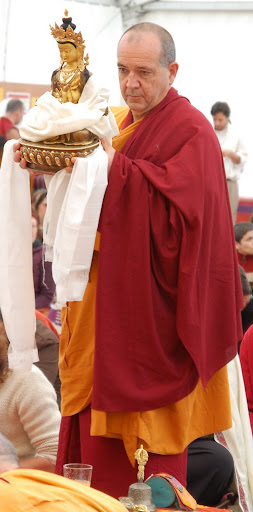 Long Life puja offered to Lama Zopa Rinpoche after the CPMT Meeting at Institut Vajra Yogini, France. Ven. Dondrub offering long life statue, May 2009.