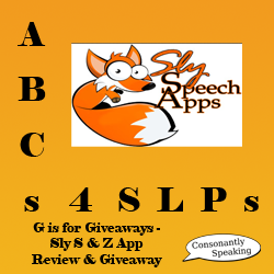 ABCs 4 SLPs: G is for Giveaways - Sly Speech Apps Review and Sly S & Z Giveaway image