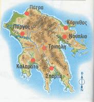 Πελοπόννησος, γεωφυσικός χάρτης Πελοποννήσου, Ελληνικές φυλές.
