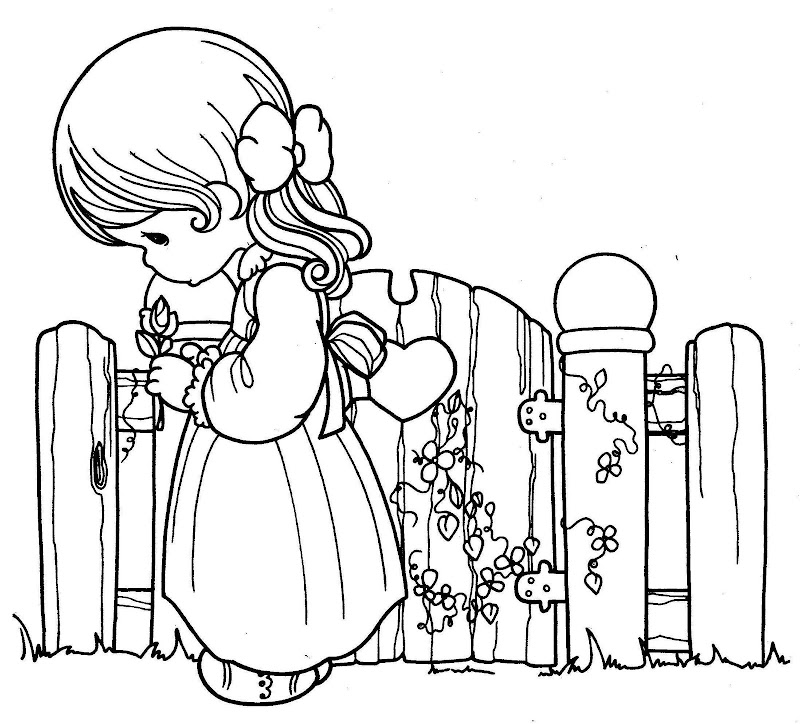 Girl thinking precious moments coloring pages